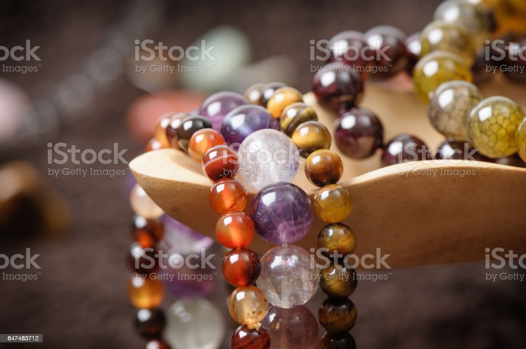 semi-precious stones bracelet stock photo