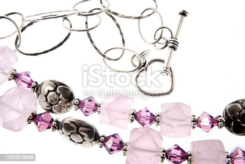 Semi-precious Stones With Sterling Silver Chain And Clasp On Whie Background