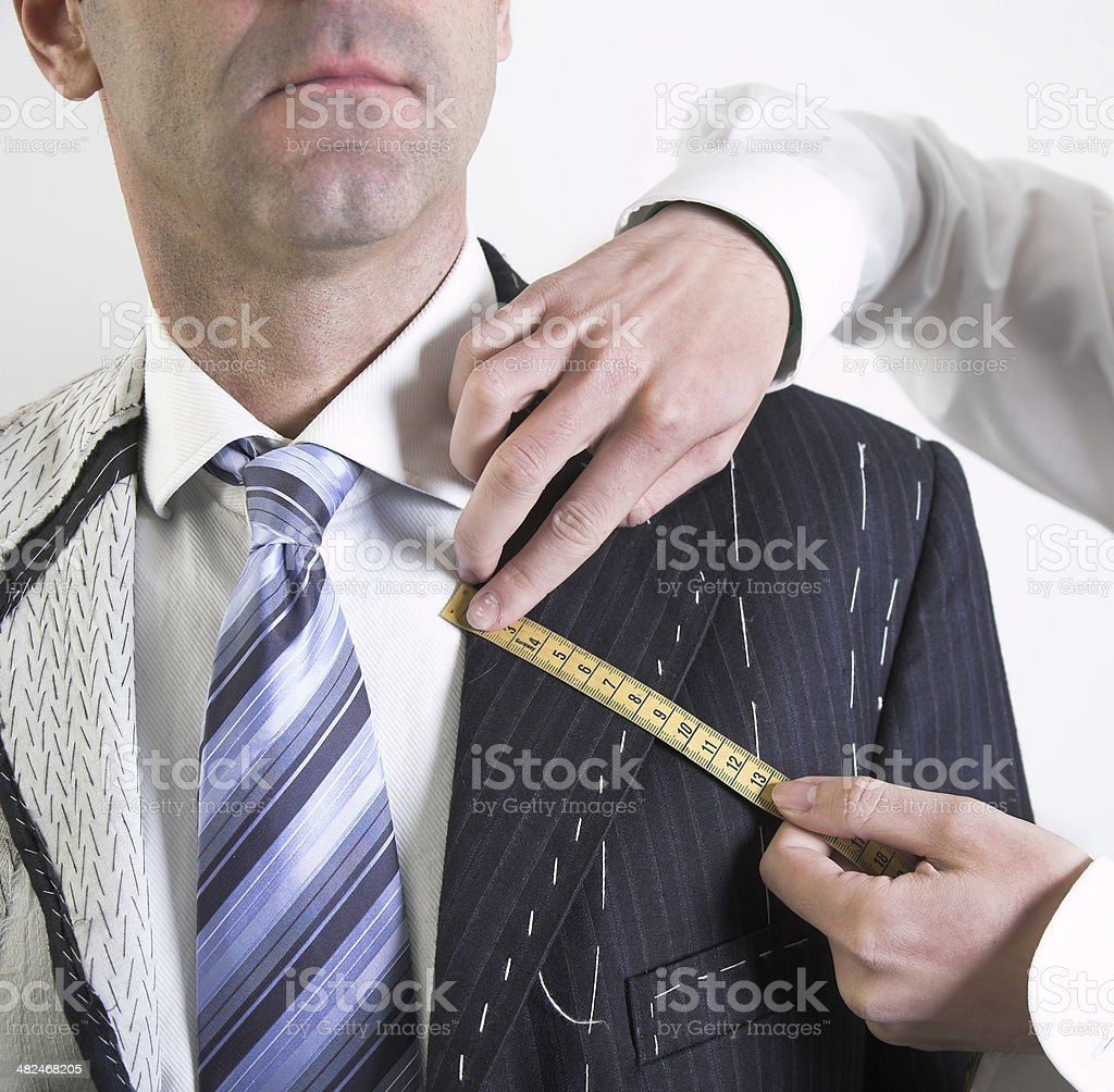 Semi-ready, elegant tailor made suit stock photo