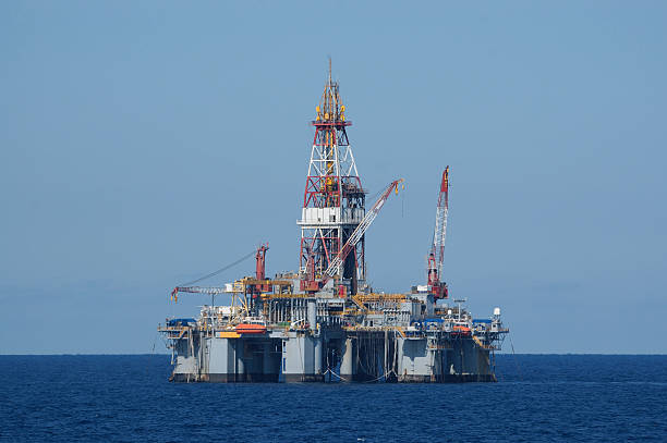 Semi-submersible drilling platform. Off shore oil rig