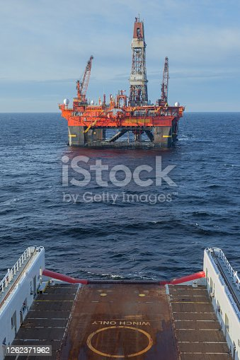 A semi-submersible drilling rig seen from the view from the bridge off an offshore vessel.