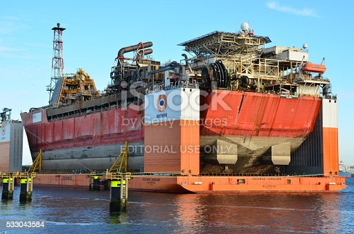 Rotterdam,Netherlands-May 13,2015. Semi-submersible heavy superstructure lift ship anchored in port of Rotterdam,Netherlands.