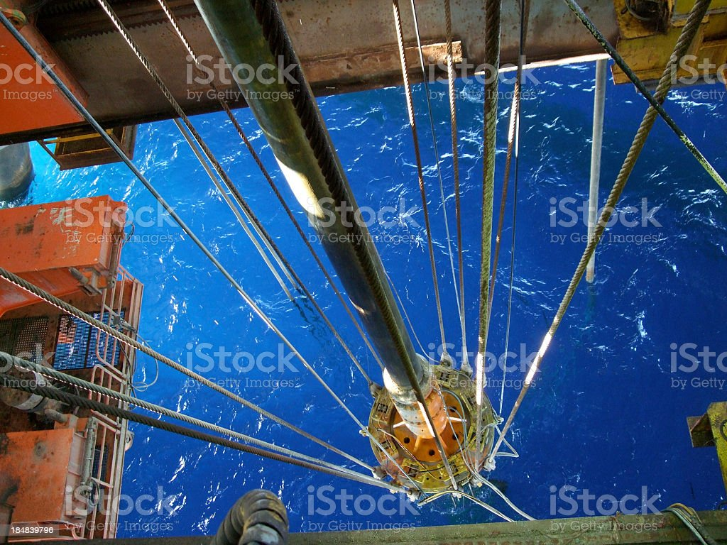 Semisubmersible oil rig moon pool stock photo