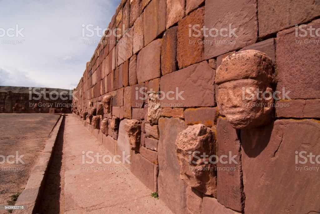 Semi-subterranean Temple in Tiwanaku, Bolivia. Declared UNESCO World Heritage Site stock photo