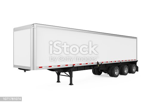 Semi-Trailer Container isolated on white background. 3D render