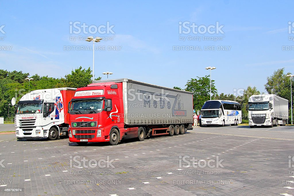 Semi-trailer trucks stock photo