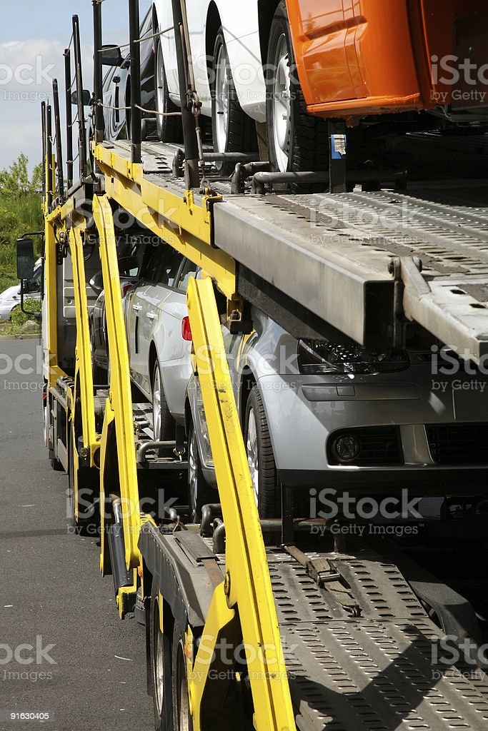 Semitrailer with cars. royalty-free stock photo