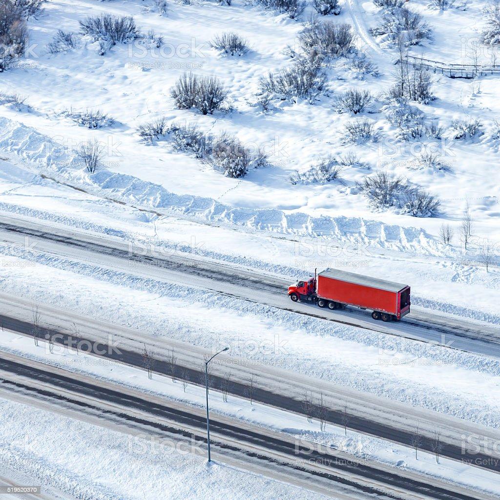 Semi-truck aerial shot stock photo