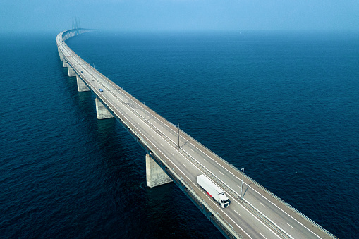 Semi-Truck Crossing Oresund Bridge