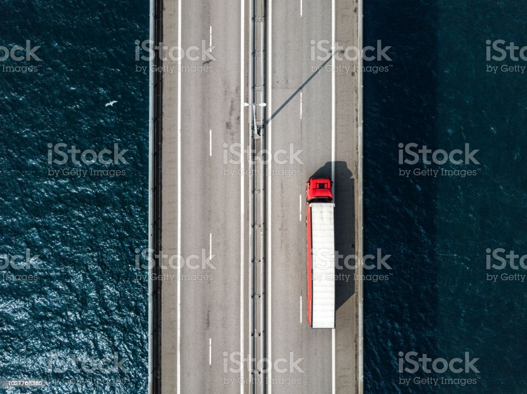 Semi-Truck Crossing Oresund Bridge stock photo
