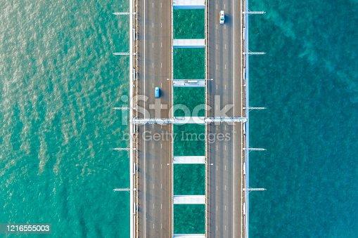 Road bridge as seen from above, Hongkong, China