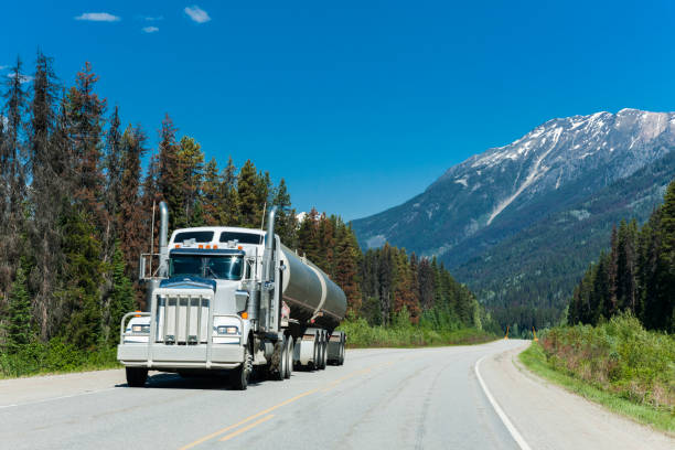 Semi-truck in the Canadian Rocky Mountains of British Columbia, Canada stock photo