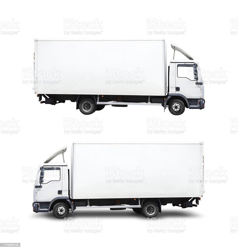 Semi-truck, isolated on white with clipping path. Copy space royalty-free stock photo