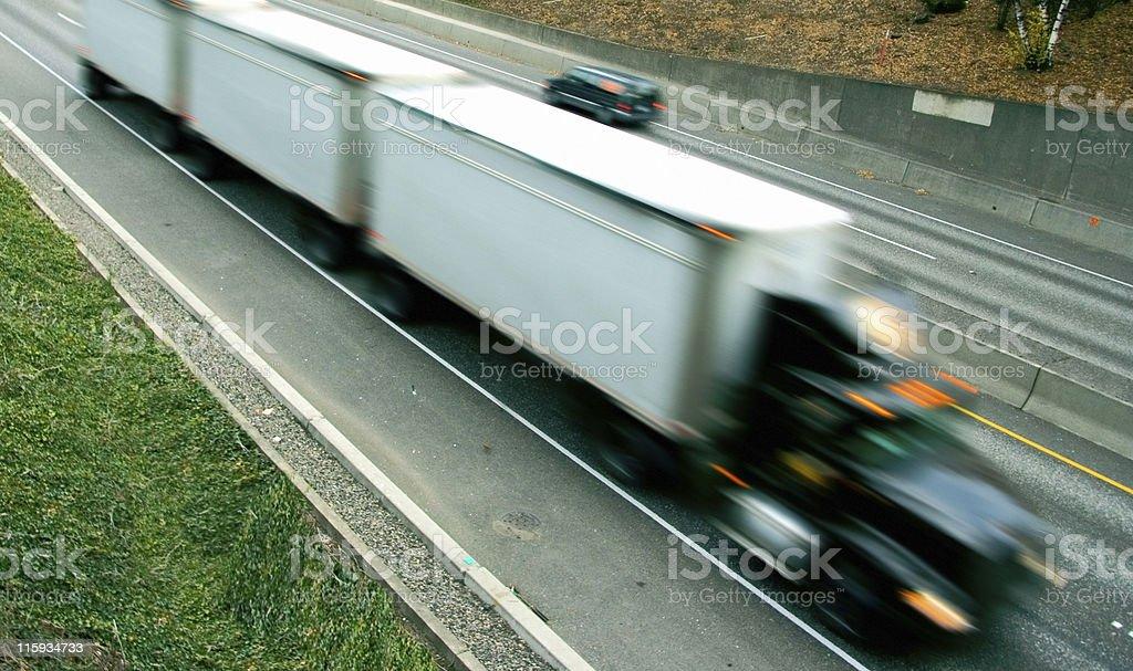 Semi-Truck Motion Blur royalty-free stock photo