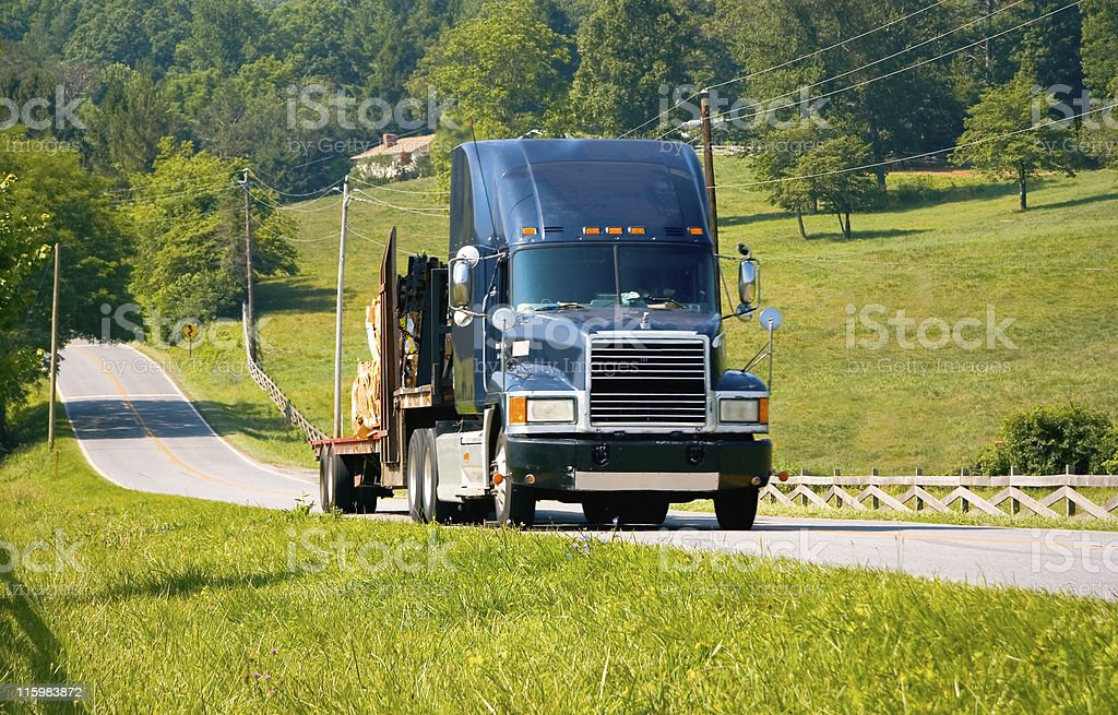 Semi-Truck on Country Highway royalty-free stock photo