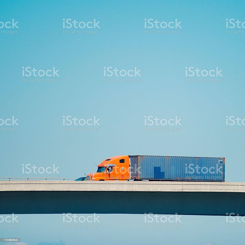 semi-truck on miami royalty-free stock photo