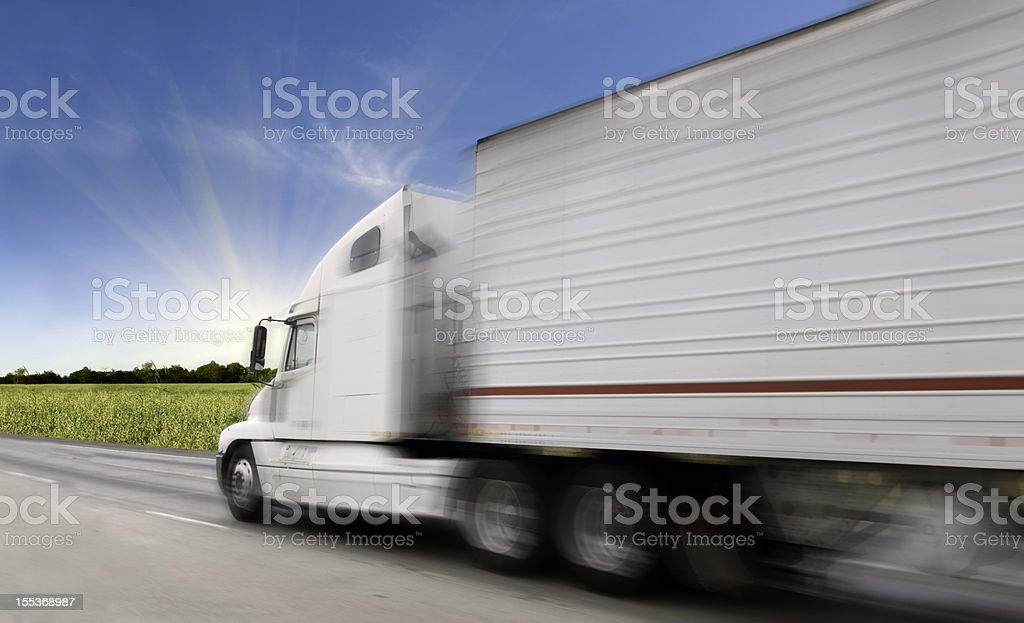 Semi-Truck on the Freeway stock photo