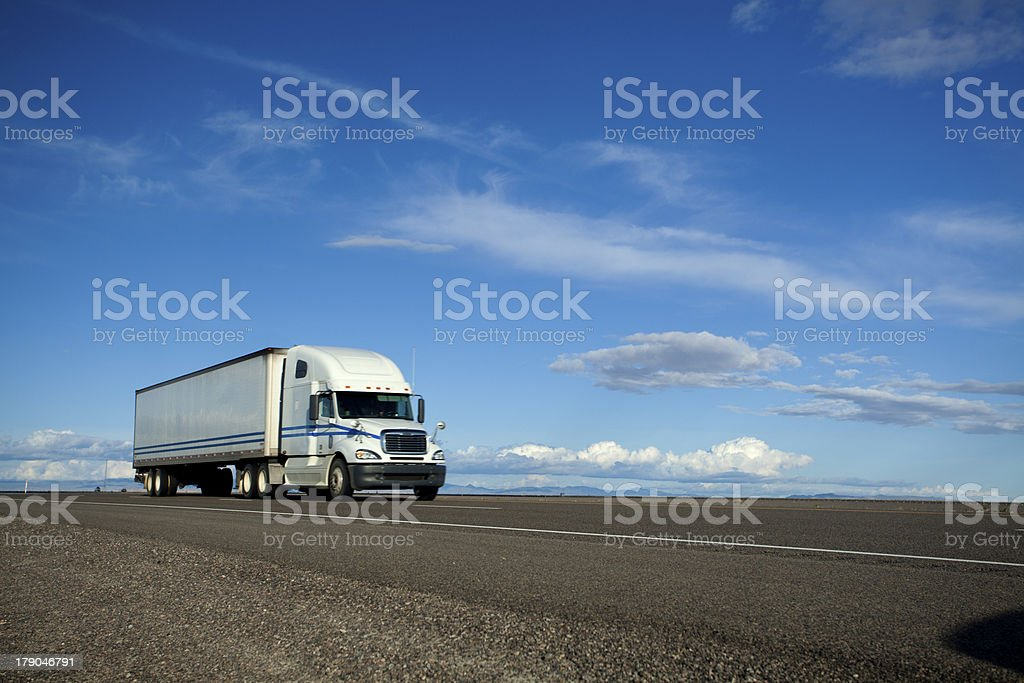 Semi-Truck on the Open Road stock photo