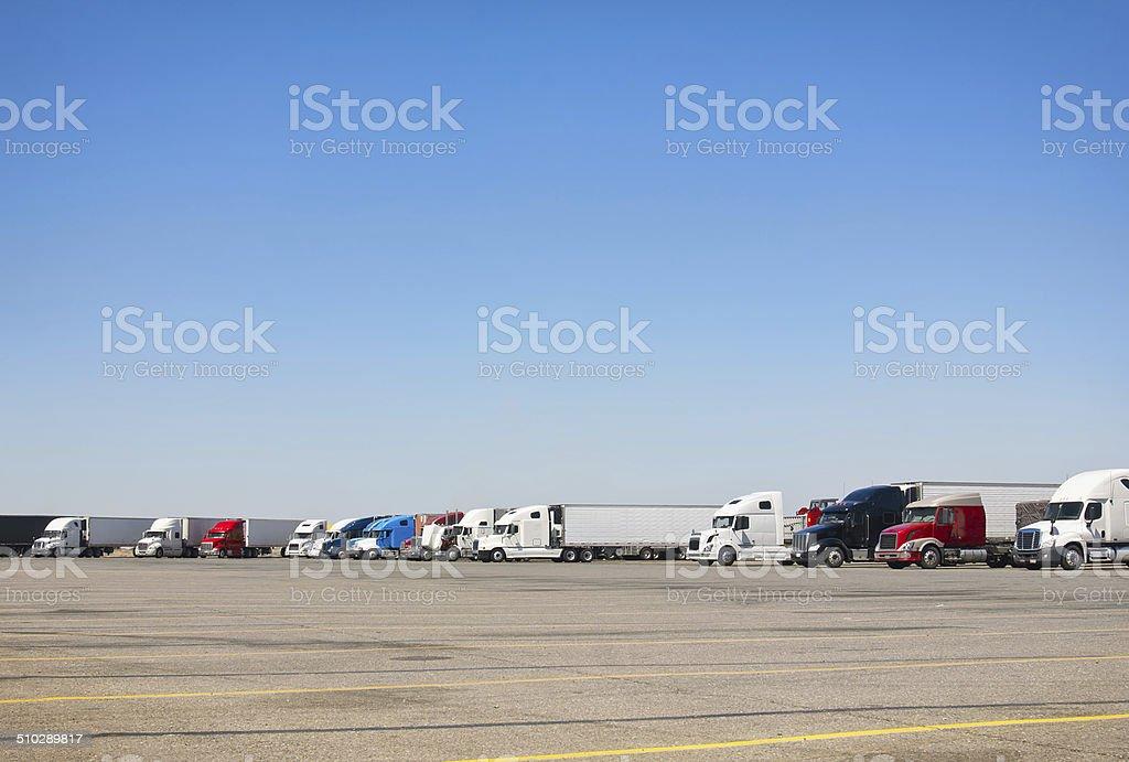 Semi-Truck Parking Lot stock photo