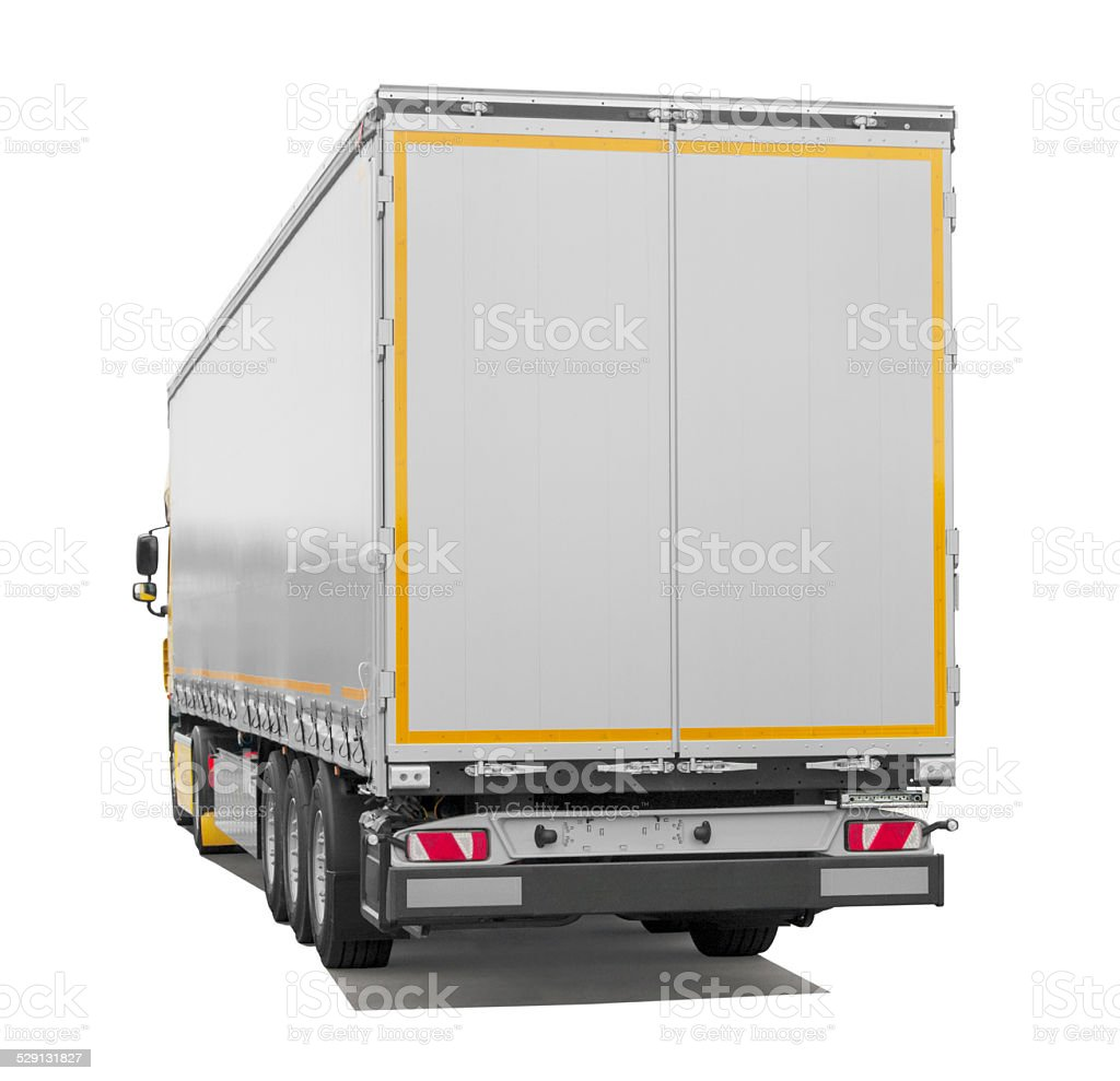 Semi-truck Trailer (isolated) incl. Shadows stock photo