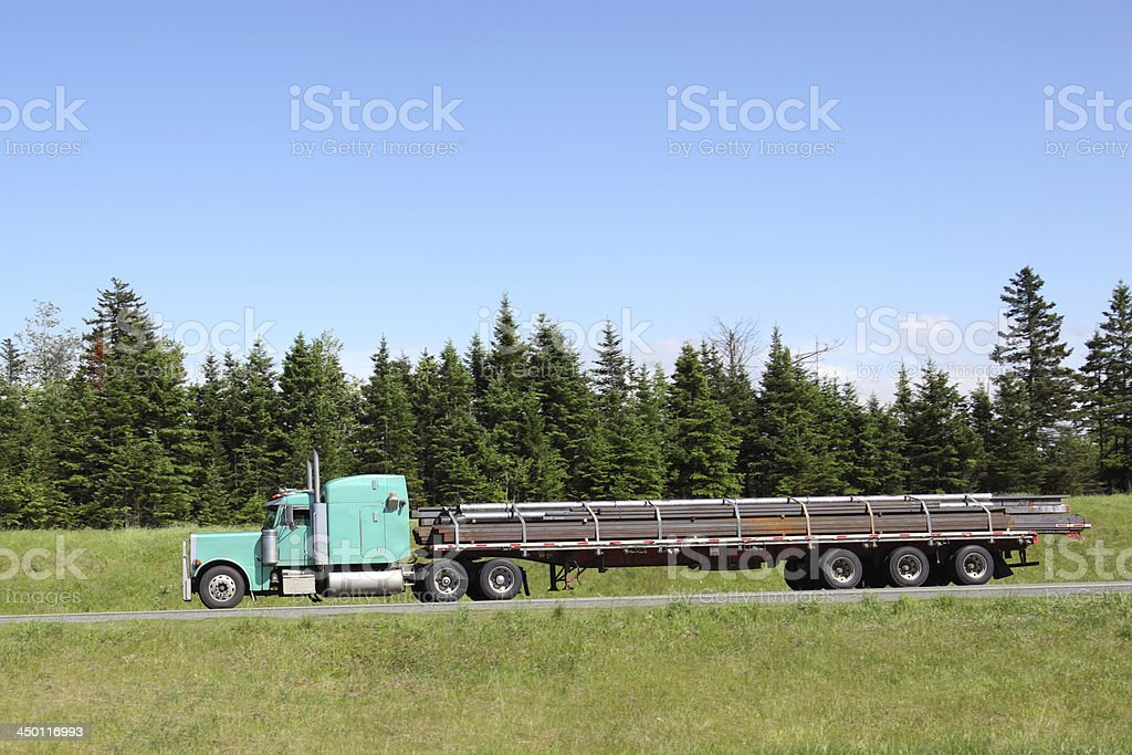 Semi-truck with a load of metal. royalty-free stock photo