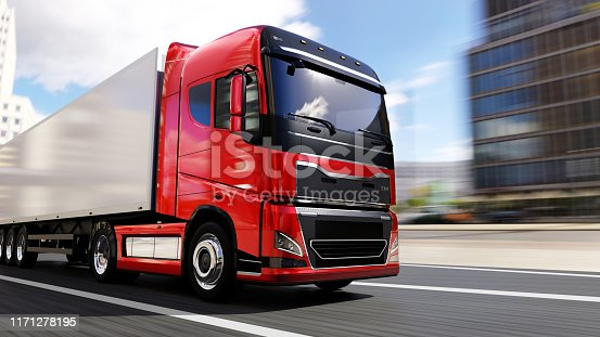 red semi-truck with trailer driving on a city road, motion blur,  truck of my own generic design, 3d render