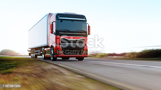 red semi-truck with trailer driving on road, motion blur,  truck of my own generic design, 3d render