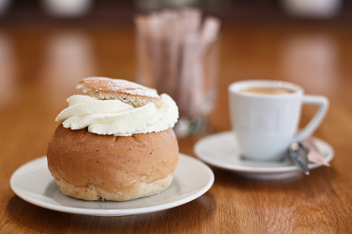 Semla With Coffee Stock Photo - Download Image Now