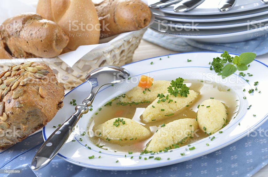 Semolina dumpling soup royalty-free stock photo