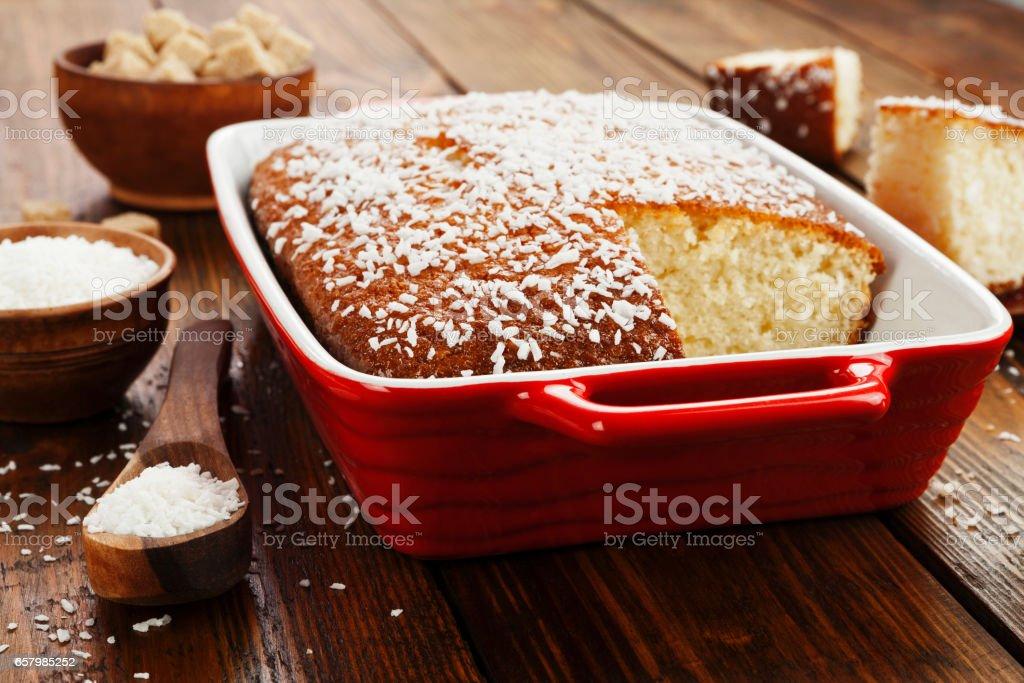 Semolina pie with coconut stock photo