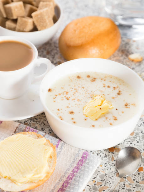 Semolina porridge. Fine and healthy breakfast stock photo
