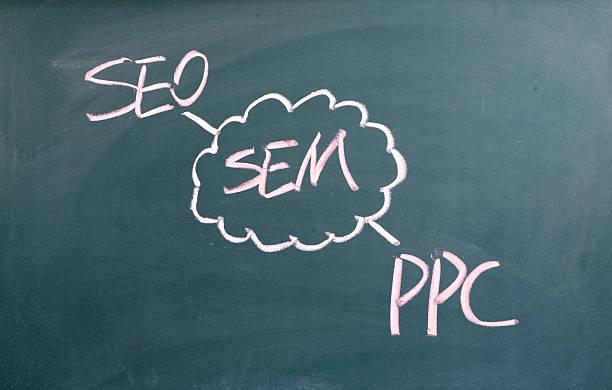 SEM,search engine marketing,seo,ppc written on blackboard stock photo