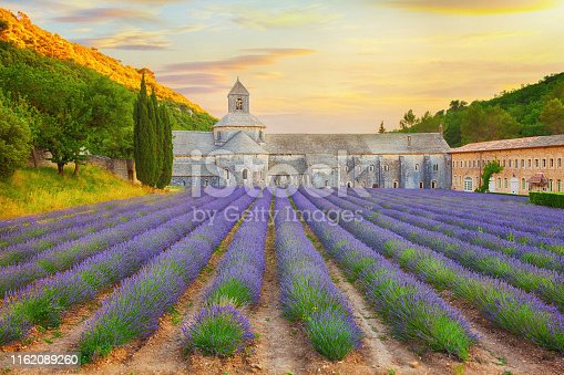 Abbey with blooming lavender field