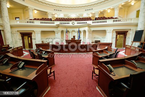 The senate chamber of the state Capitol of the State of Idaho in Boise, a western city in the USA.