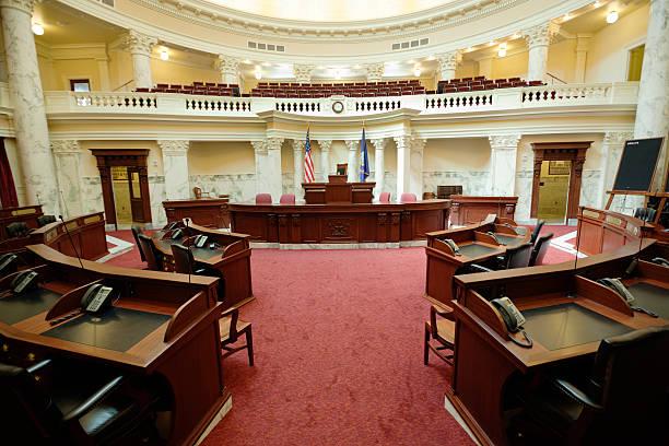Senate Chamber Inside State Capitol Government Building, Boise, Idaho, USA stock photo