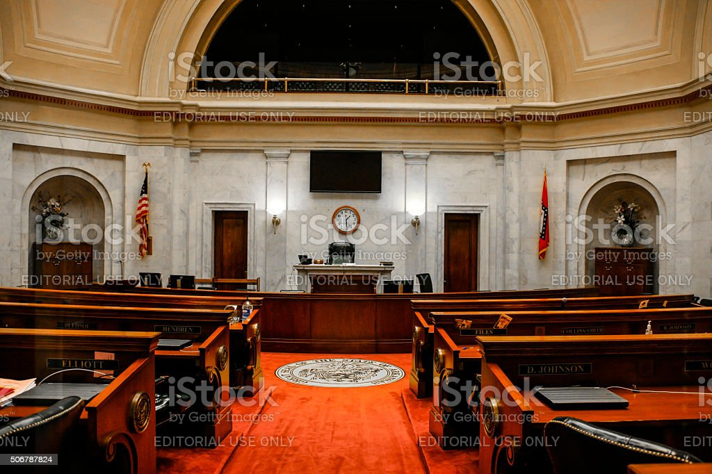 Senate Chamber inside the Arkansas State Capitol builidng Little Rock stock photo