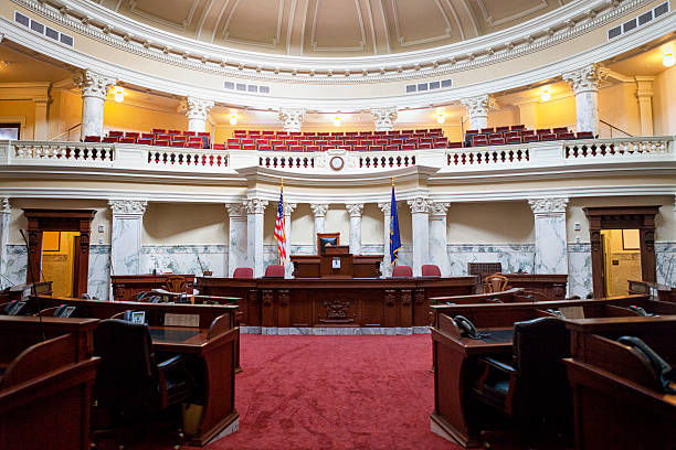 Senate Chamber of the Idaho State Capitol stock photo
