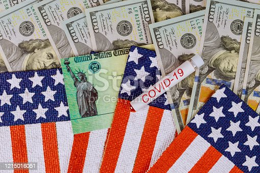 American Senate passes massive stimulus package bill COVID-19 on global pandemic lockdown, stimulus financial package for people dollar cash banknote flag US