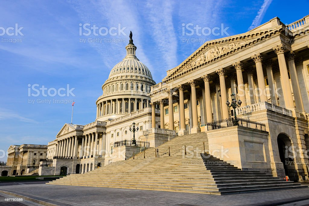 XXXL: Senate wing of the United States Capitol building. Front facade of the Senate wing of the United States Capitol building. 2015 Stock Photo