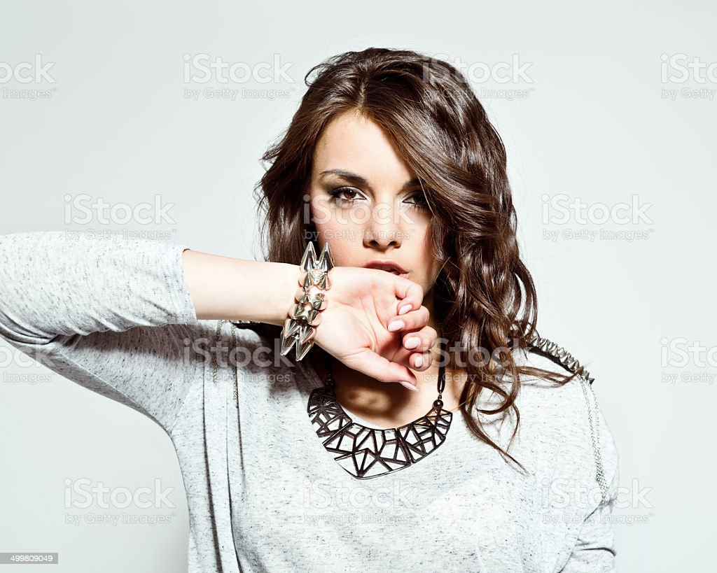 Senaual young woman stock photo