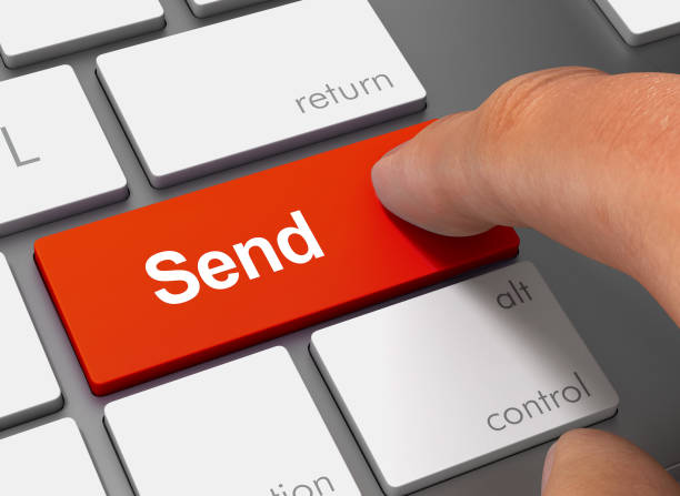 send pushing keyboard with finger 3d illustration - wyślij zdjęcia i obrazy z banku zdjęć