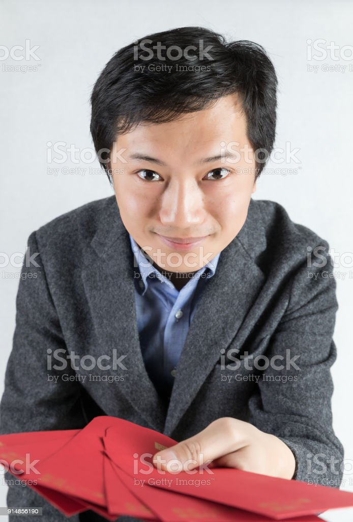 Send you a red envelope stock photo