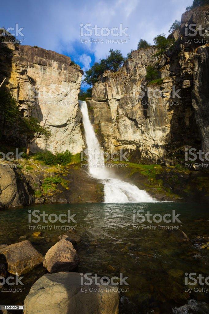 Senda Chorrillo del Salto waterfall stock photo