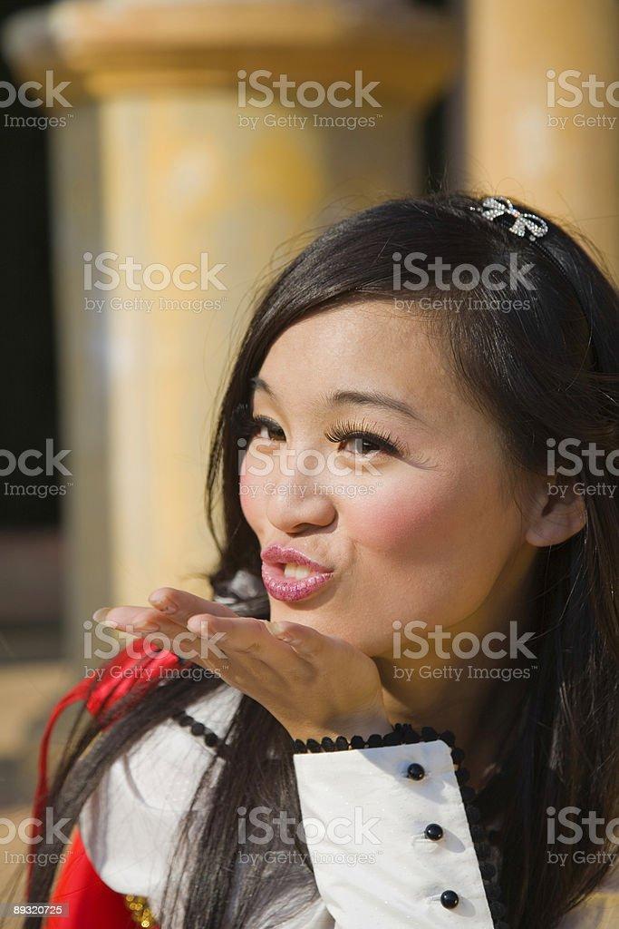 Sending a kiss stock photo