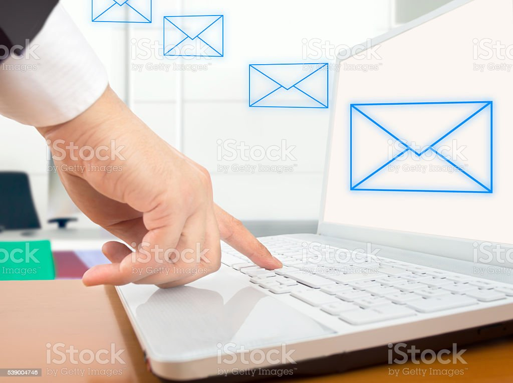 sending an email stock photo