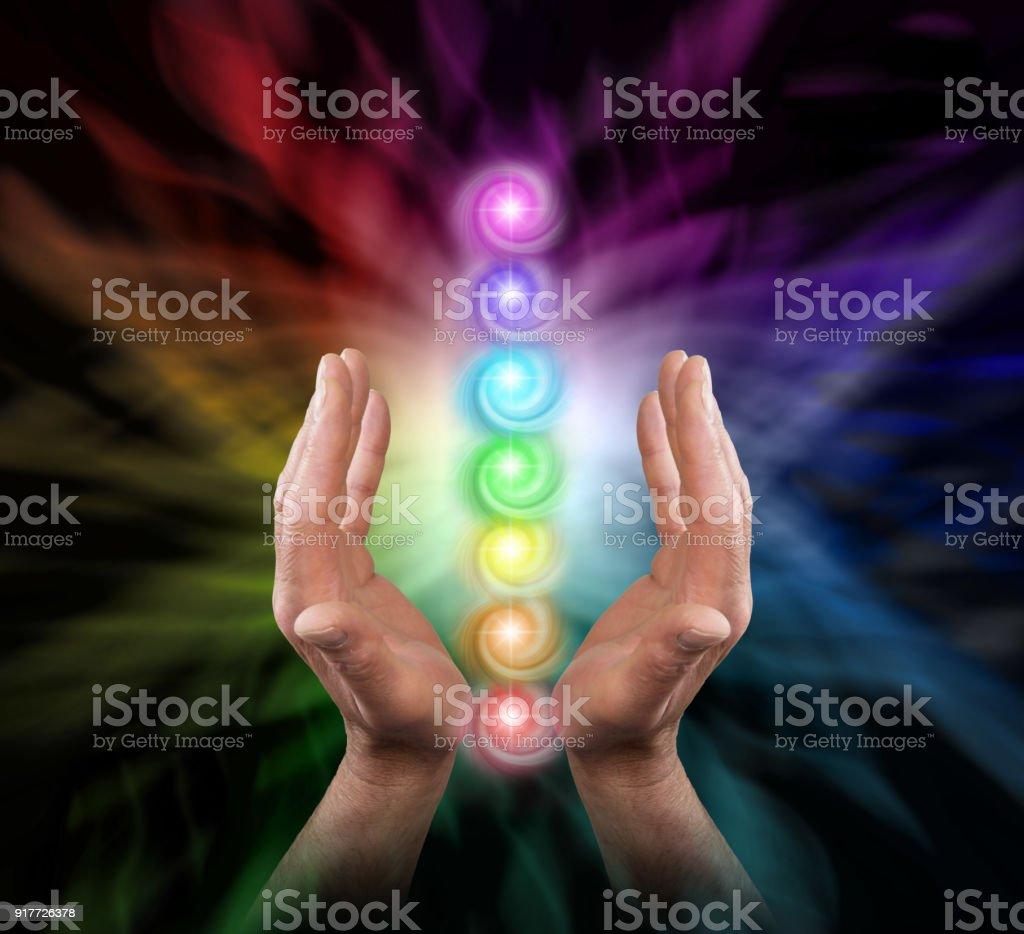 Sending Chakra Healing Energy stock photo