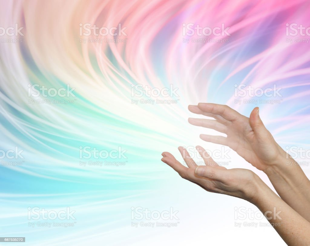 Sending distant healing energy stock photo