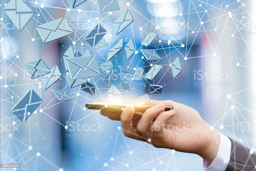 Sending email from a mobile . stock photo