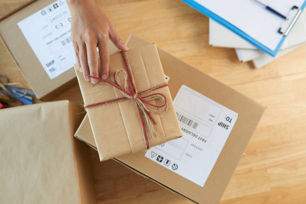 Sending gifts stock photo