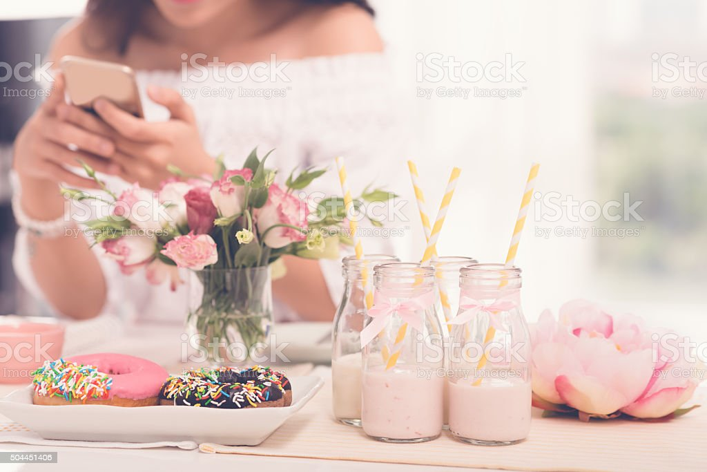 Sending invitations to the party stock photo